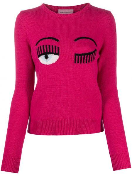 Шерстяной розовый вязаный свитер с круглым вырезом Chiara Ferragni