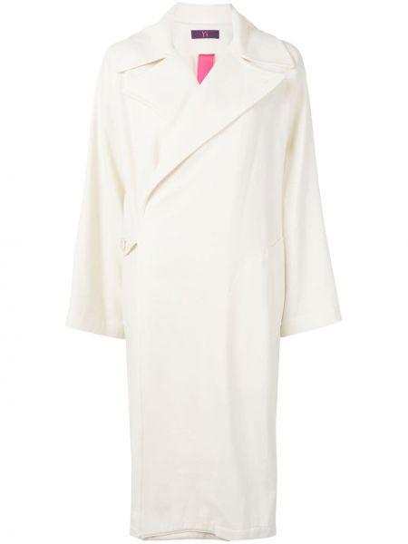 Шерстяное белое длинное пальто с воротником Y's