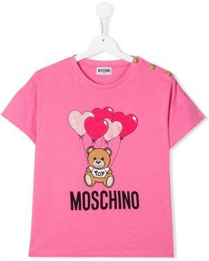 Розовая футболка Moschino