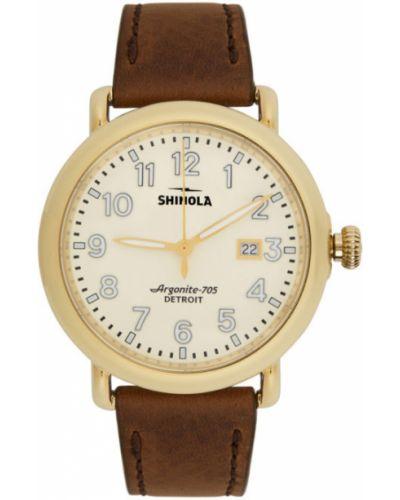 Czarny złoty zegarek na skórzanym pasku szafir Shinola