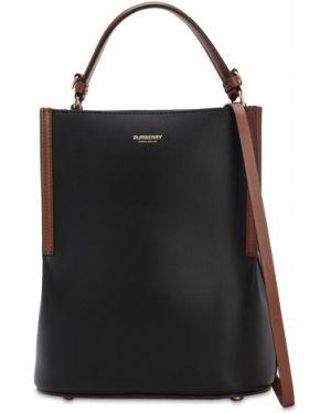 Кожаная сумка с ручками с логотипом Burberry