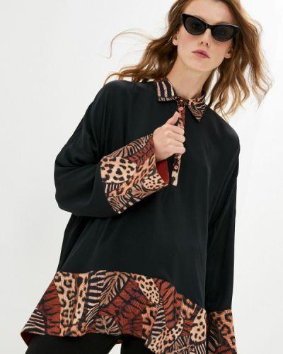 С рукавами черная блузка с длинным рукавом Cavalli Class