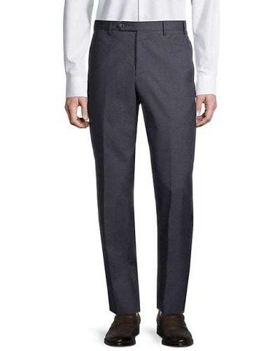 Шерстяные синие классические брюки с карманами Zanella