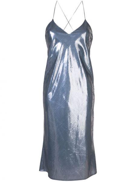 Синее приталенное платье миди без рукавов Michelle Mason