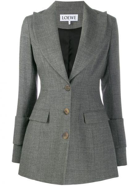 Серый приталенный пиджак с карманами Loewe