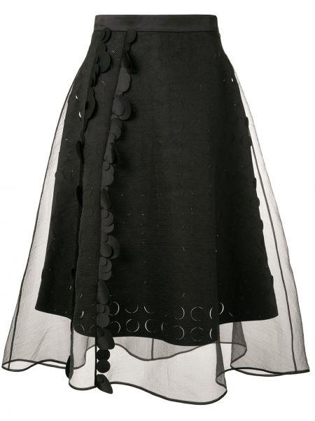 Черная прямая с завышенной талией юбка на молнии Paskal