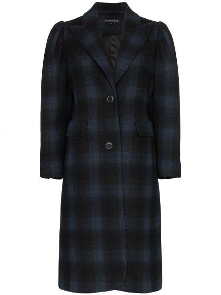 Однобортное черное пальто с капюшоном Blindness