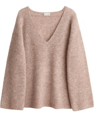 Brązowy długi sweter oversize z dekoltem w serek By Malene Birger