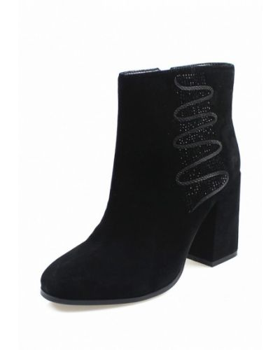 Ботинки на каблуке замшевые черный Blizzarini