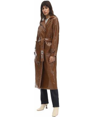 Skórzany płaszcz zapinane na guziki z kieszeniami Saks Potts