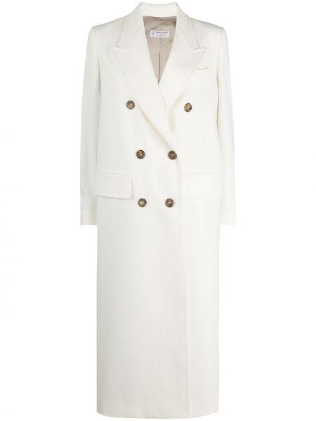 Белое шерстяное длинное пальто на пуговицах Alberto Biani