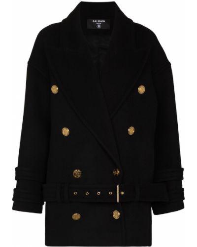 Черное пальто длинное Balmain