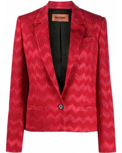 Шерстяной красный удлиненный пиджак с карманами Missoni