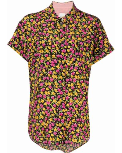 Шелковая черная рубашка с короткими рукавами Paul Smith