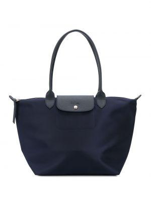 Сумка шоппер на молнии - синяя Longchamp