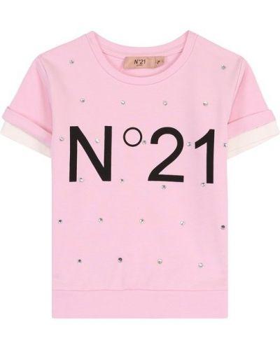 Футболка с логотипом со стразами No. 21