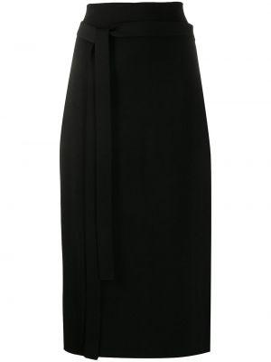 Шерстяная черная юбка с поясом Jil Sander