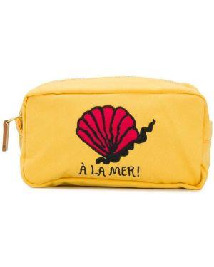 Хлопковая желтая сумка на молнии с вышивкой Mini Rodini