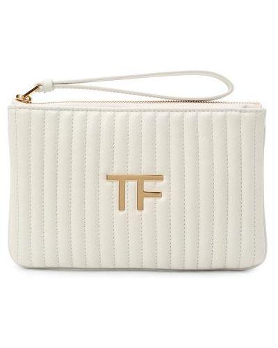 Белый кожаный клатч Tom Ford