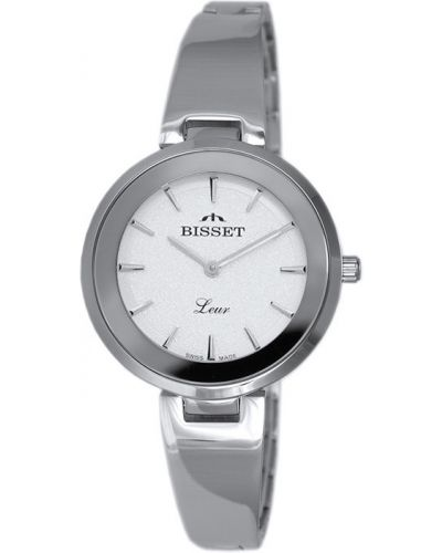 Szary klasyczny szwajcarski zegarek srebrny Bisset