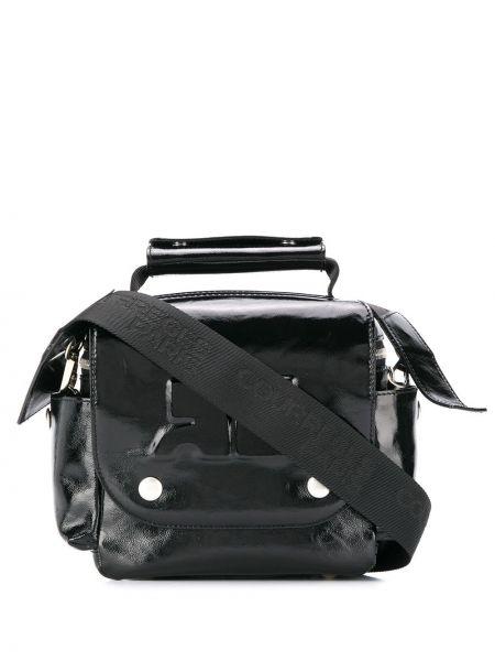 Czarna torba na ramię skórzana Courreges