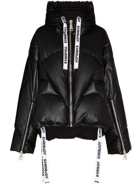 Акриловая черная длинная куртка с манжетами с карманами Khrisjoy