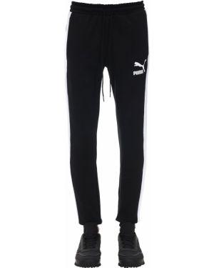 Prążkowane czarne joggery bawełniane Puma Select