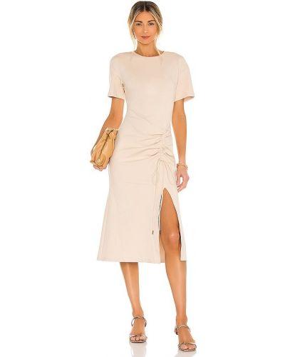 Бежевое трикотажное деловое платье миди Elliatt