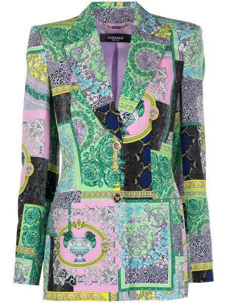 Зеленый однобортный удлиненный пиджак на пуговицах Versace
