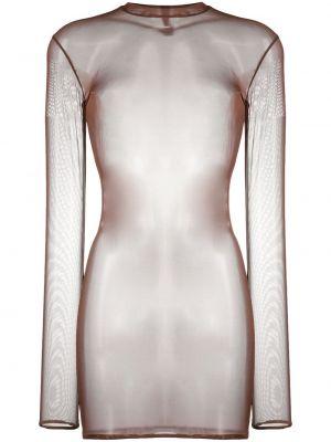 С рукавами коричневое платье мини сетчатое с воротником Maison Close