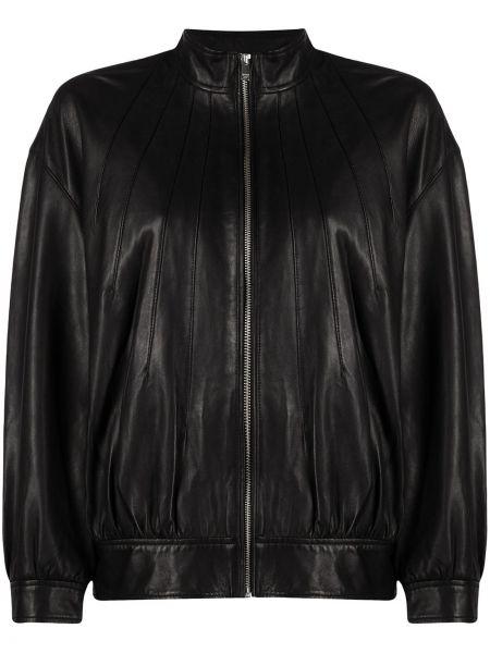 С рукавами черная кожаная длинная куртка Dondup