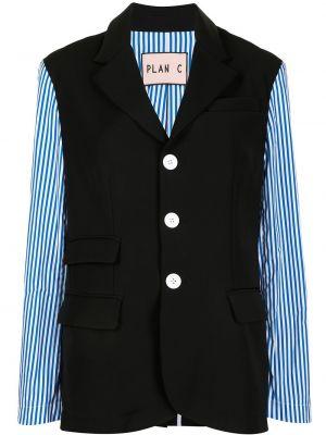 Черный удлиненный пиджак с карманами в полоску Plan C
