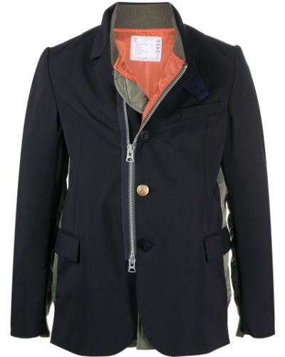 Шерстяной синий удлиненный пиджак с карманами Sacai