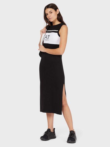 Хлопковое платье - черное Ea7 Emporio Armani