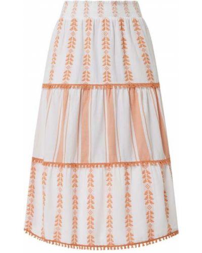 Pomarańczowa spódnica maxi rozkloszowana bawełniana Rich & Royal