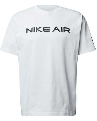 Biały t-shirt bawełniany z printem Nike