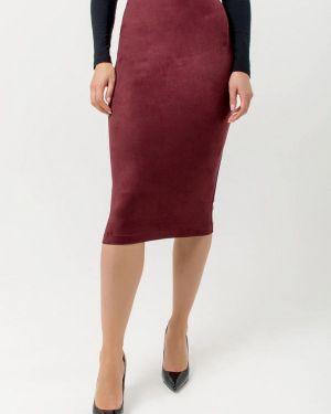 Кожаная юбка фиолетовый осенняя Kotis Couture