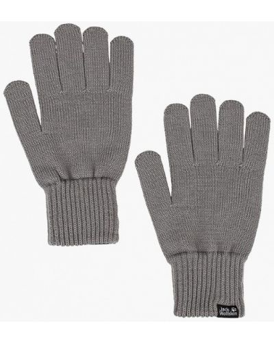 Серые перчатки текстильные Jack Wolfskin