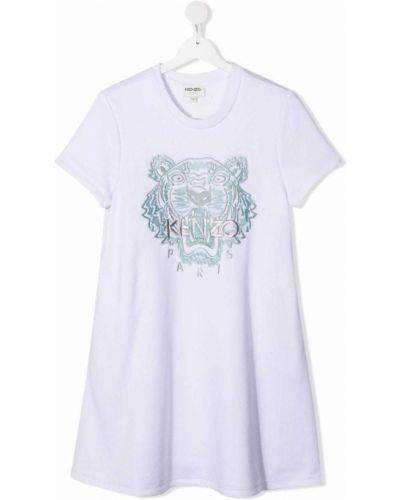 Biała sukienka mini bawełniana z haftem Kenzo Kids