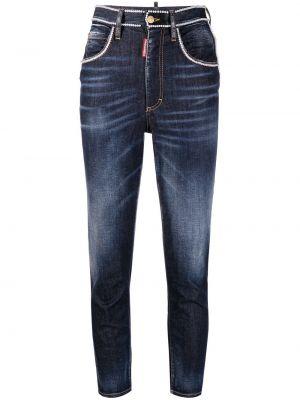 Зауженные джинсы с бисером на пуговицах с завышенной талией Dsquared2