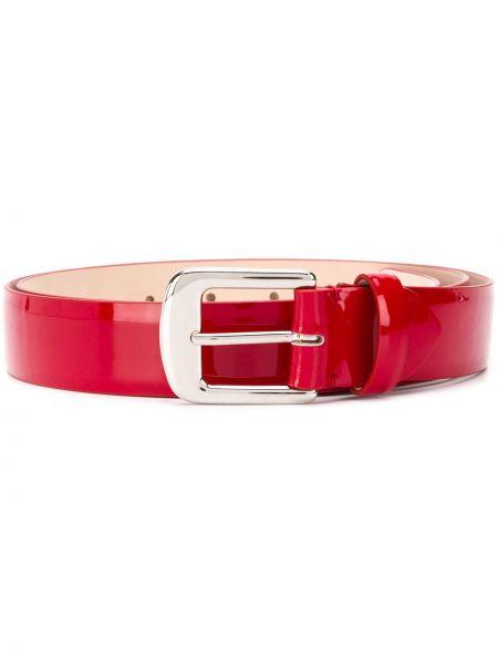 Кожаный красный ремень с пряжкой с поясом Maison Margiela