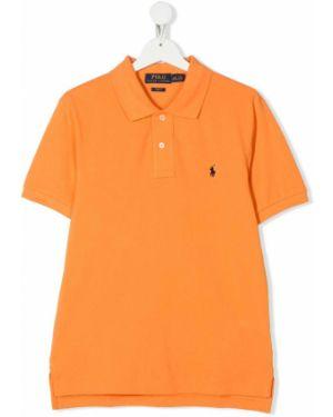 Оранжевая асимметричная классическая рубашка на пуговицах Ralph Lauren Kids