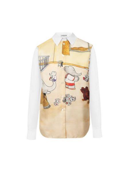 Рубашка с длинным рукавом с принтом шелковая Lanvin