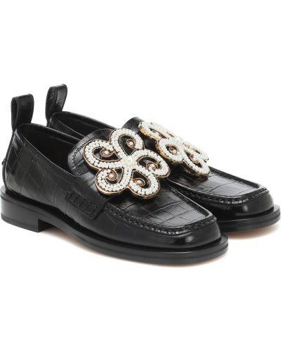 Złoty skórzany czarny loafers z perłami Loewe