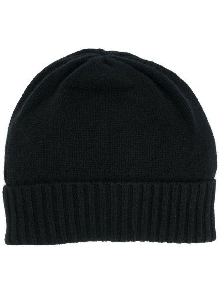 Кашемировая вязаная черная шапка бини в рубчик Allude