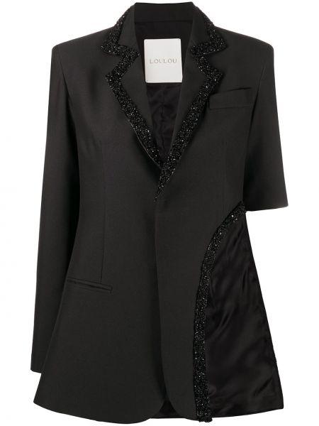 Черный пиджак с пайетками на пуговицах Loulou