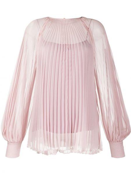 Шелковая розовая блузка с манжетами на пуговицах Blumarine