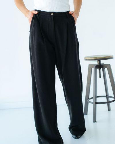 Черные брюки с карманами с завышенной талией Clew