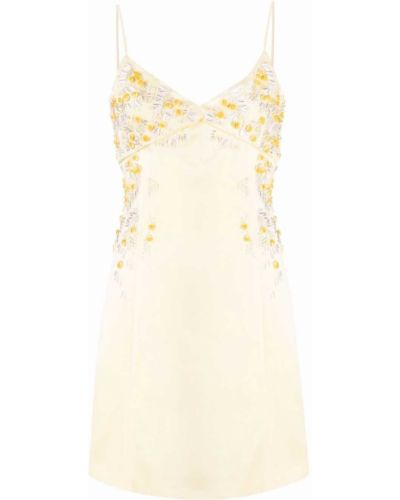 Желтое платье мини с вышивкой с вырезом Blumarine