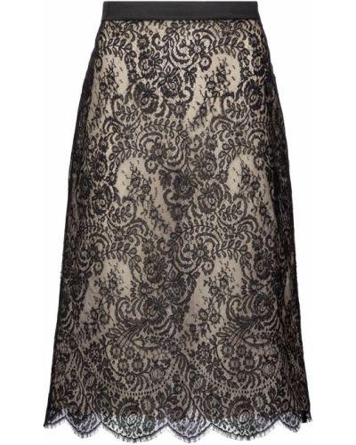 Шелковая кружевная черная юбка миди Alexander Mcqueen